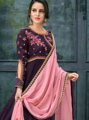 Georgette Satin Lace Floor Length Anarkali Suit in Purple