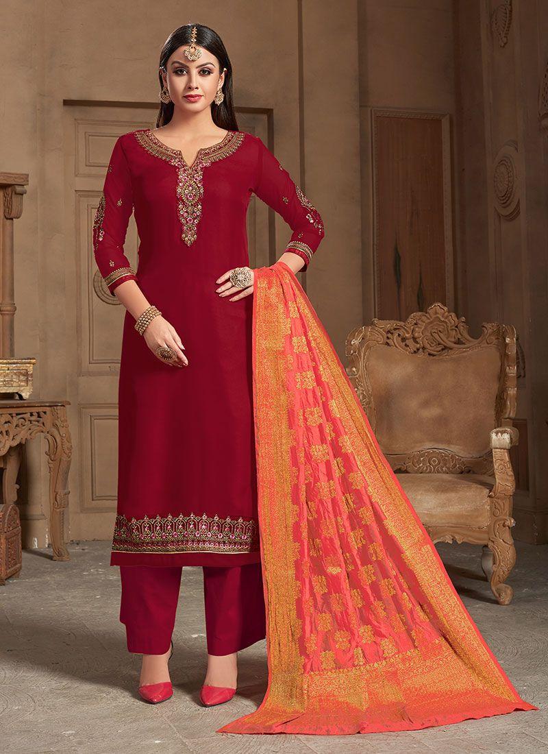 Georgette Satin Maroon Designer Straight Salwar Suit