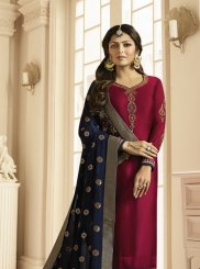 Georgette Satin Maroon Embroidered Churidar Suit