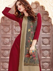 Georgette Satin Maroon Party Wear Kurti