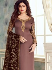 Georgette Satin Mauve  Churidar Designer Suit