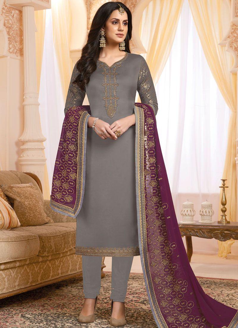 Georgette Satin Mehndi Designer Salwar Suit