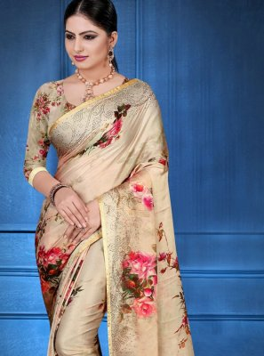 Georgette Satin Multi Colour Printed Saree