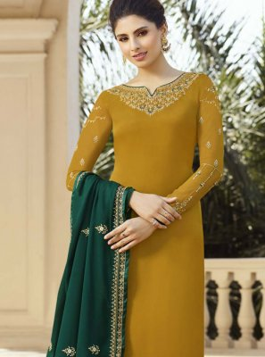 Georgette Satin Mustard Pant Style Suit