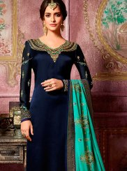 Georgette Satin Navy Blue Stone Work Churidar Suit