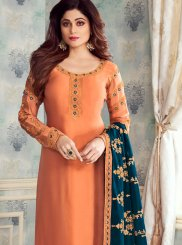 Georgette Satin Orange Embroidered Churidar Salwar Kameez