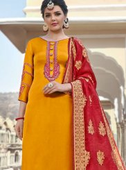 Georgette Satin Orange Embroidered Straight Salwar Suit