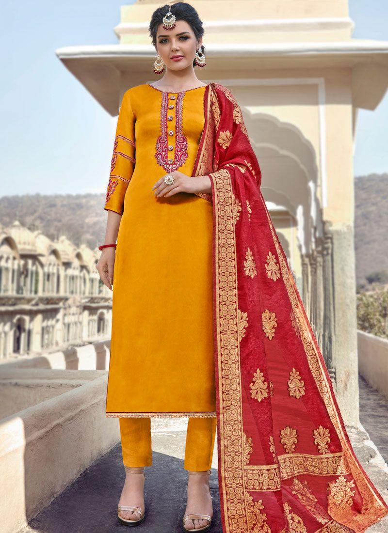 Georgette Satin Orange Embroidered Straight Salwar Suit