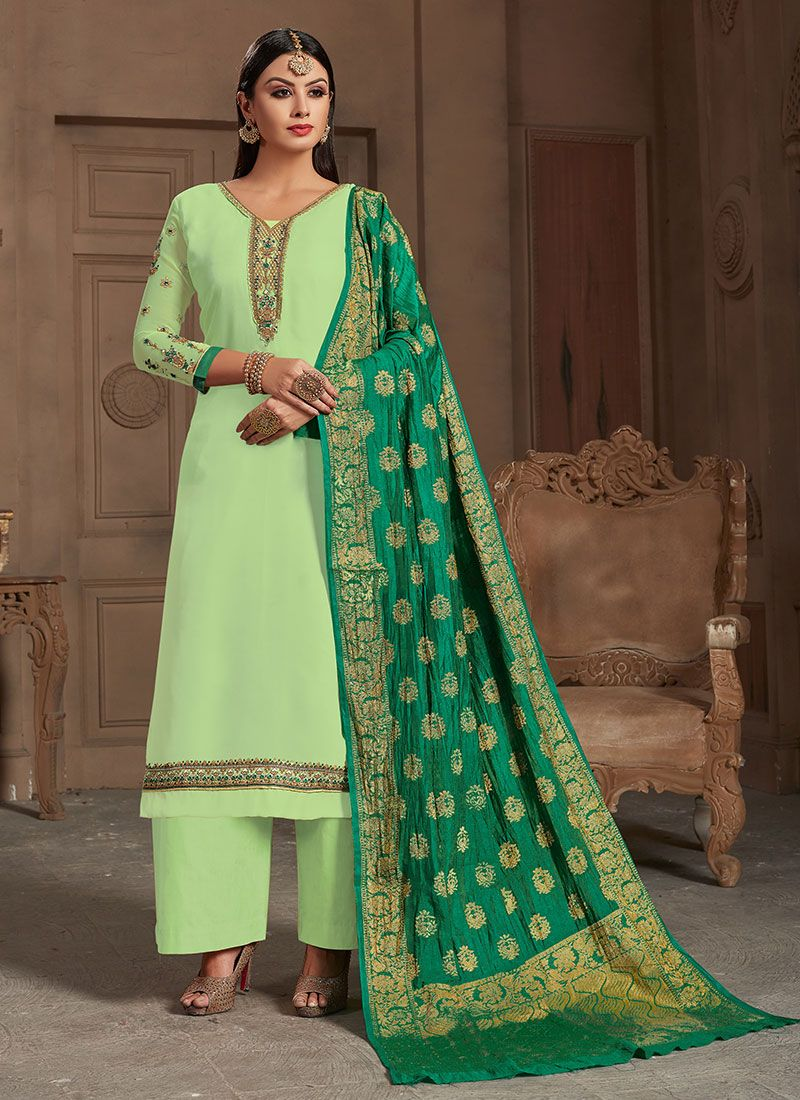 Georgette Satin Party Designer Straight Suit