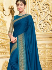 Georgette Satin Patch Border Traditional Saree in Blue