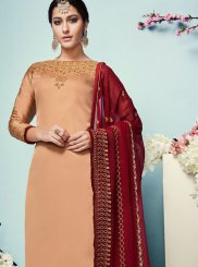 Georgette Satin Peach Churidar Salwar Suit
