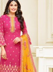 Georgette Satin Pink Churidar Designer Suit