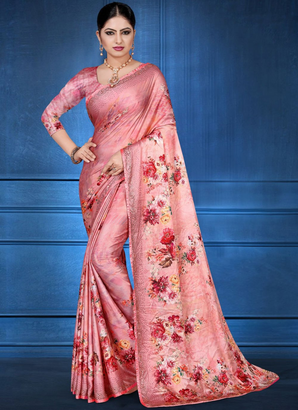 Georgette Satin Pink Digital Print Printed Saree