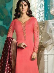 Georgette Satin Pink Embroidered Pant Style Suit
