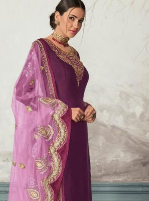 Georgette Satin Purple Embroidered Pant Style Suit