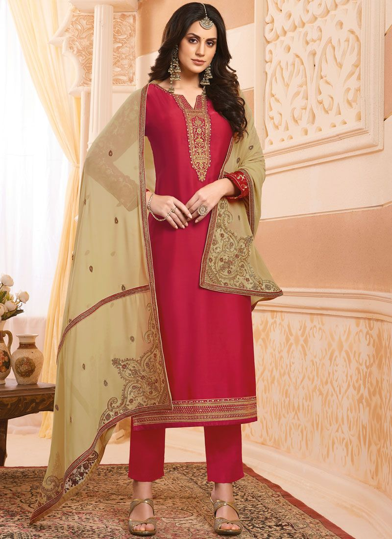 Georgette Satin Red Embroidered Designer Salwar Kameez