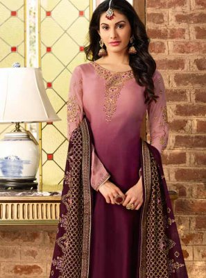 Georgette Satin Resham Churidar Salwar Suit