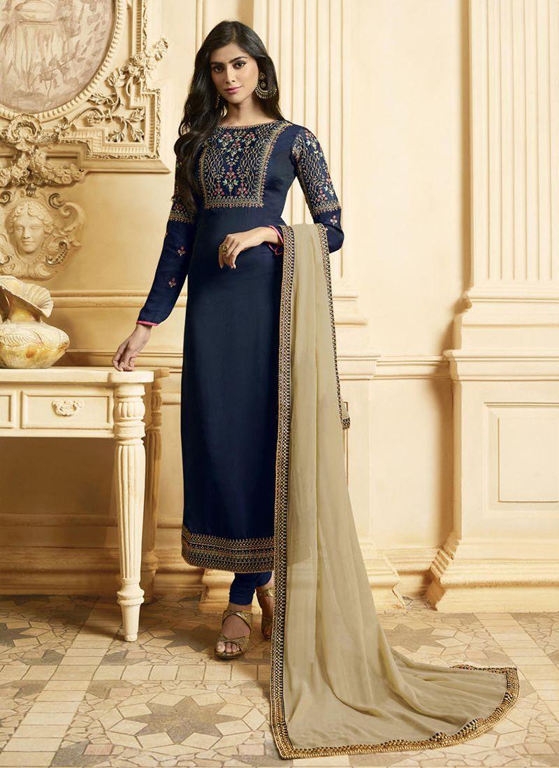 Georgette Satin Resham Designer Pakistani Suit