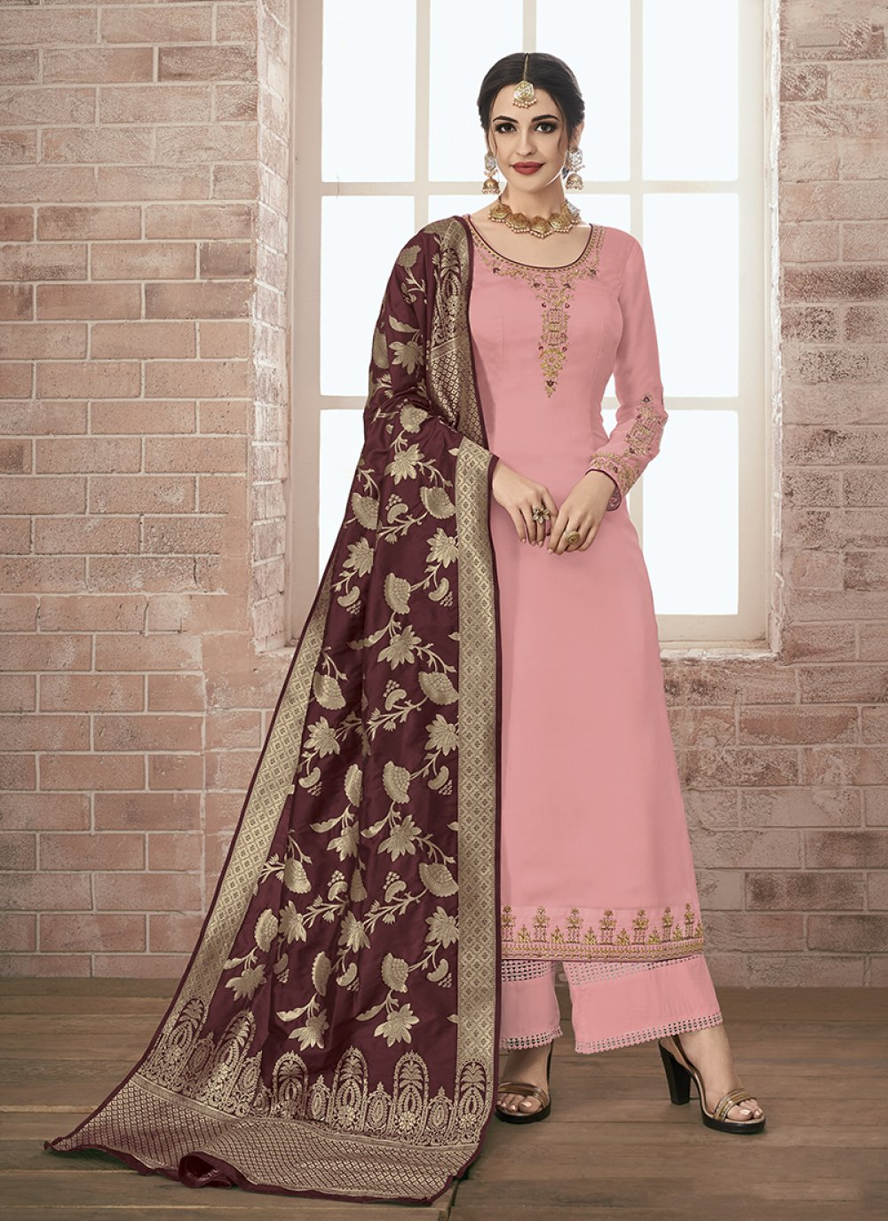 Georgette Satin Resham Designer Pakistani Suit in Pink