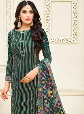 Georgette Satin Resham Green Churidar Designer Suit