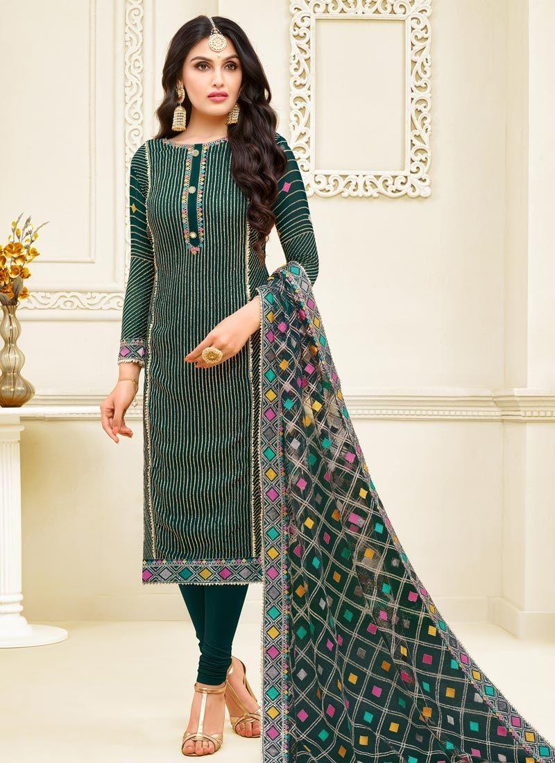 Georgette Satin Resham Green Churidar Designer Suit