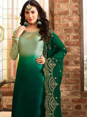 Georgette Satin Resham Green Trendy Churidar Salwar Kameez
