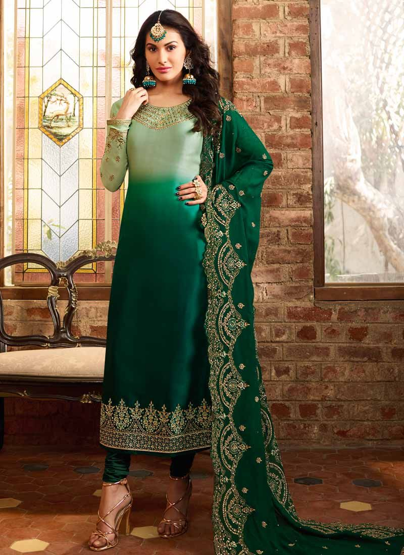 Georgette Satin Resham Green Trendy Churidar Salwar Kameez