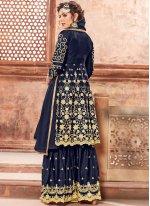 Georgette Satin Resham Navy Blue Designer Pakistani Suit