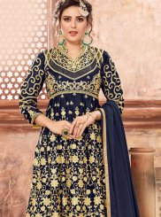 Georgette Satin Resham Navy Blue Designer Pakistani Suit
