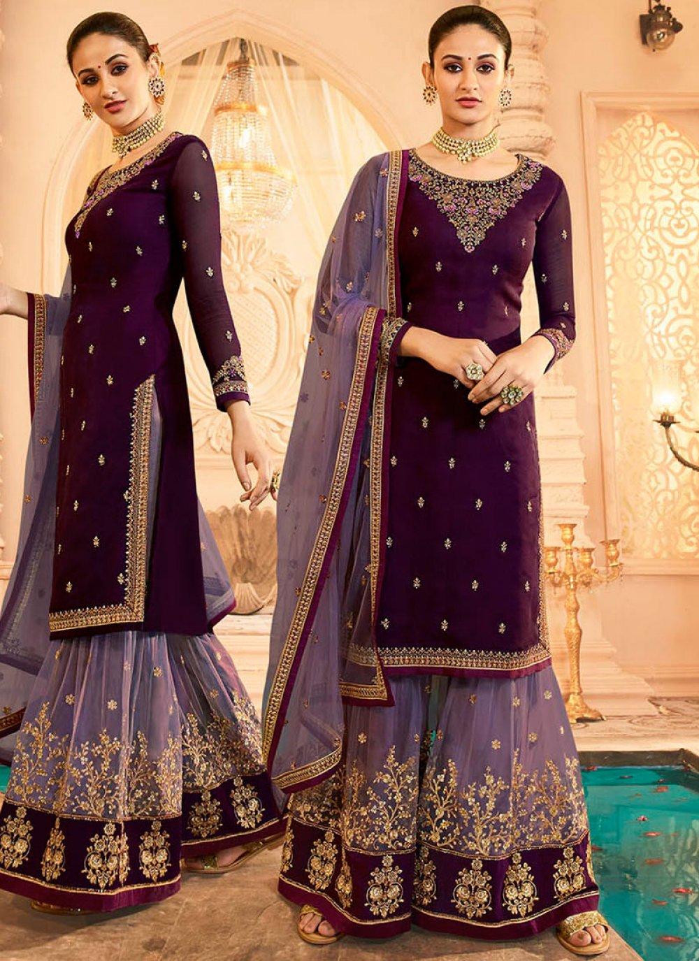 Georgette Satin Resham Purple Designer Pakistani Suit