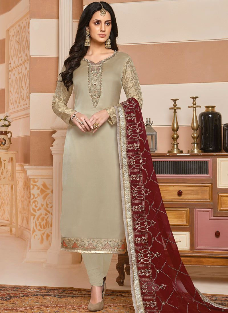 Georgette Satin Silver Embroidered Designer Salwar Suit