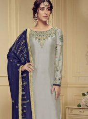 Georgette Satin Stone Work Designer Salwar Suit in Grey