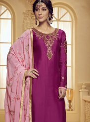 Georgette Satin Stone Work Hot Pink Designer Salwar Kameez