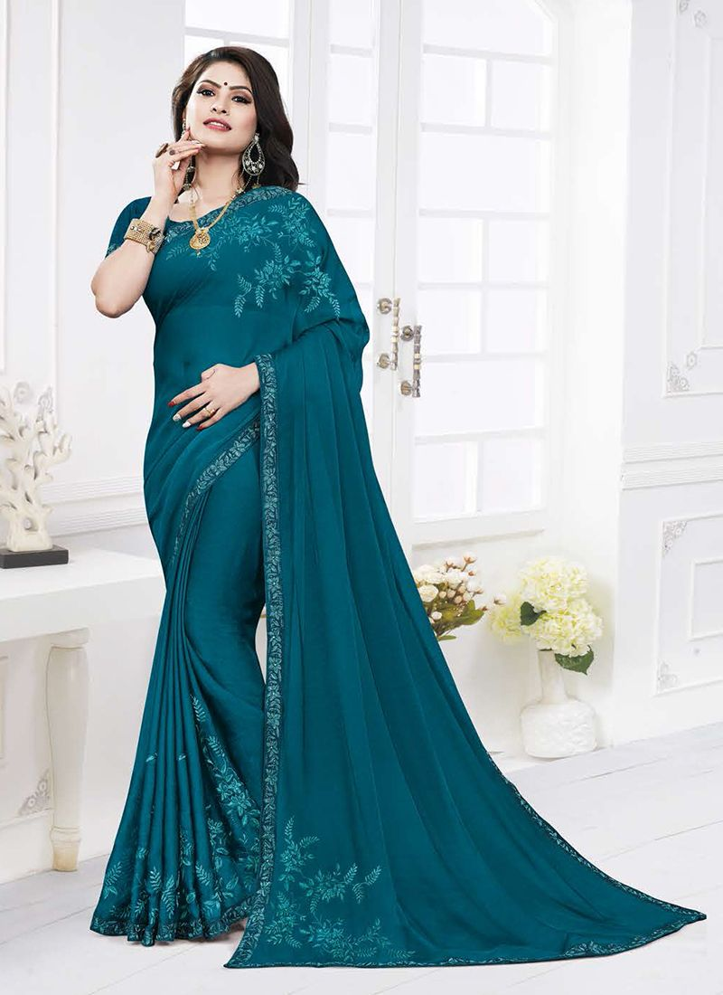 Georgette Satin Teal Casual Saree