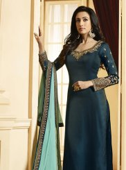 Georgette Satin Teal Resham Designer Pakistani Suit