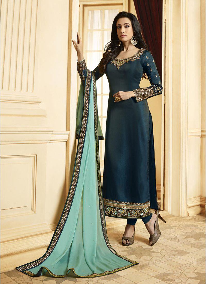 Georgette Satin Teal Resham Designer Pakistani Suit