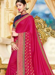 Georgette Satin Traditional Saree in Hot Pink