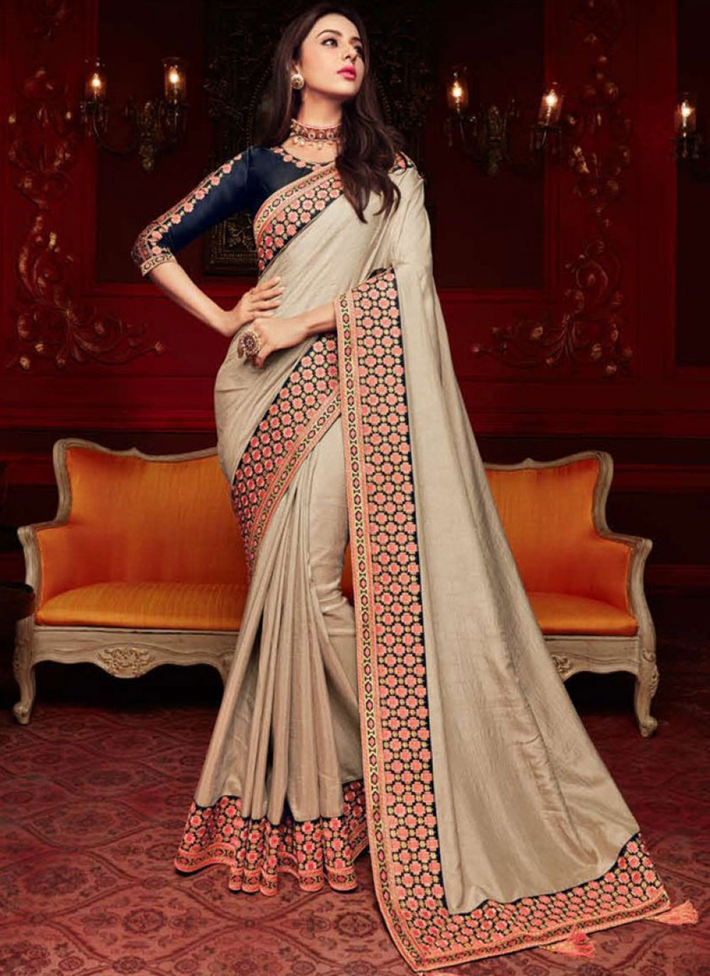 Georgette Satin Trendy Saree in Beige