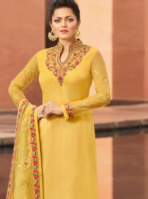 Georgette Satin Yellow Churidar Suit
