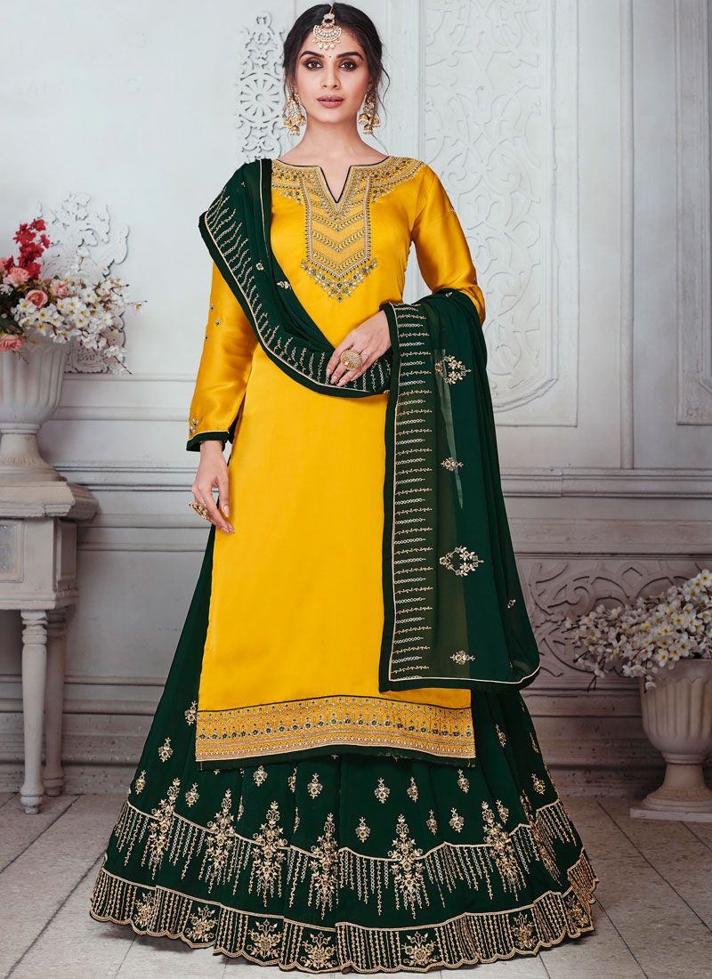 Georgette Satin Yellow Designer Lehenga Choli