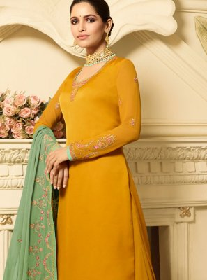 Georgette Satin Yellow Embroidered Designer Palazzo Suit