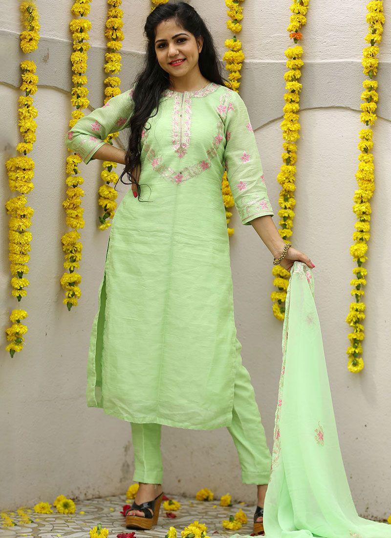 Georgette Sea Green Designer Pakistani Suit