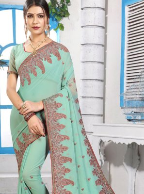 Georgette Stone Green Classic Saree