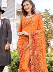 Georgette Stone Work Classic Saree in Orange