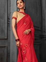 Georgette Stone Work Red Designer Saree