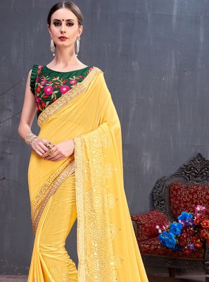 Georgette Traditional Saree in Yellow