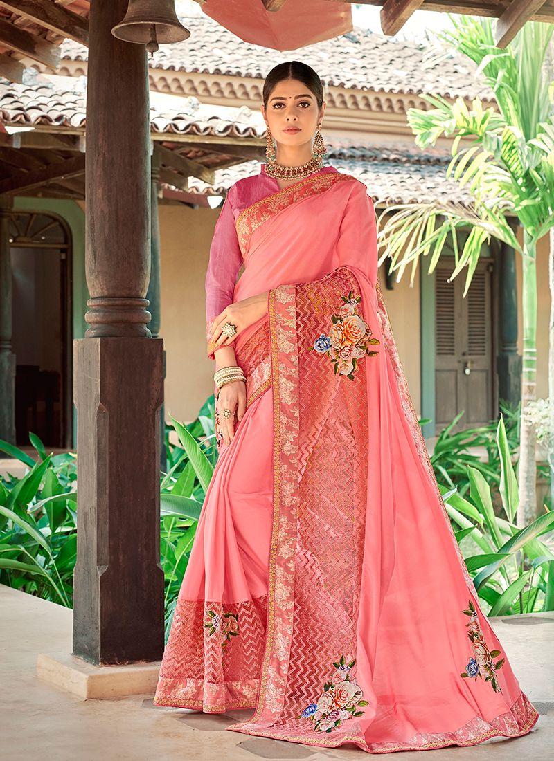 Georgette Trendy Saree in Pink