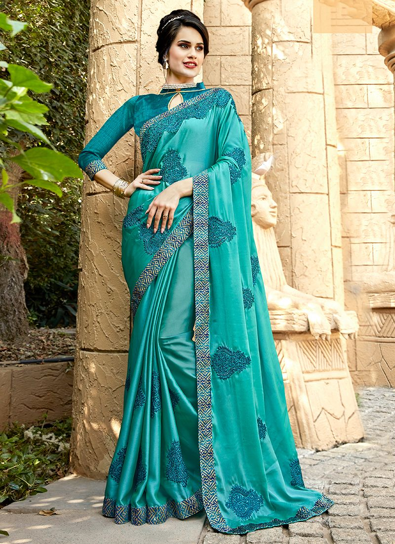 Georgette Turquoise Embroidered Trendy Saree
