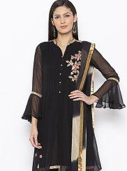 Georgette Weaving Designer Kurti in Black