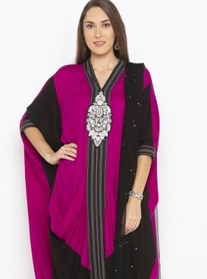 Georgette Weaving Pink Designer Kurti